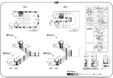 KF-W鋼製支柱タイプ(オプション対応)寸法図